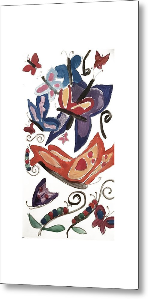 Watercolor Butterflies - Metal Print