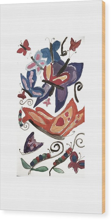 Watercolor Butterflies - Wood Print