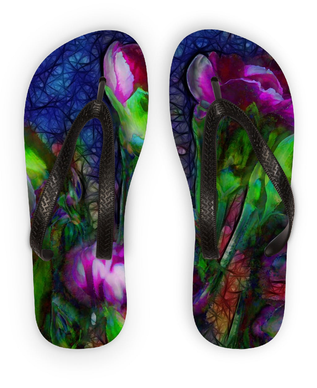 Abstract Pink Carnations Flip Flops - expressive-flower-art-goods.myshopify.com