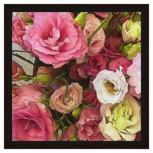 Pink Lisianthus Flowers Framed Canvas