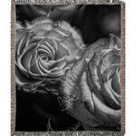 Black and White Tea Roses Woven Blankets