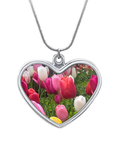 Home Chicago Tulips Heart Necklace Heart Necklace