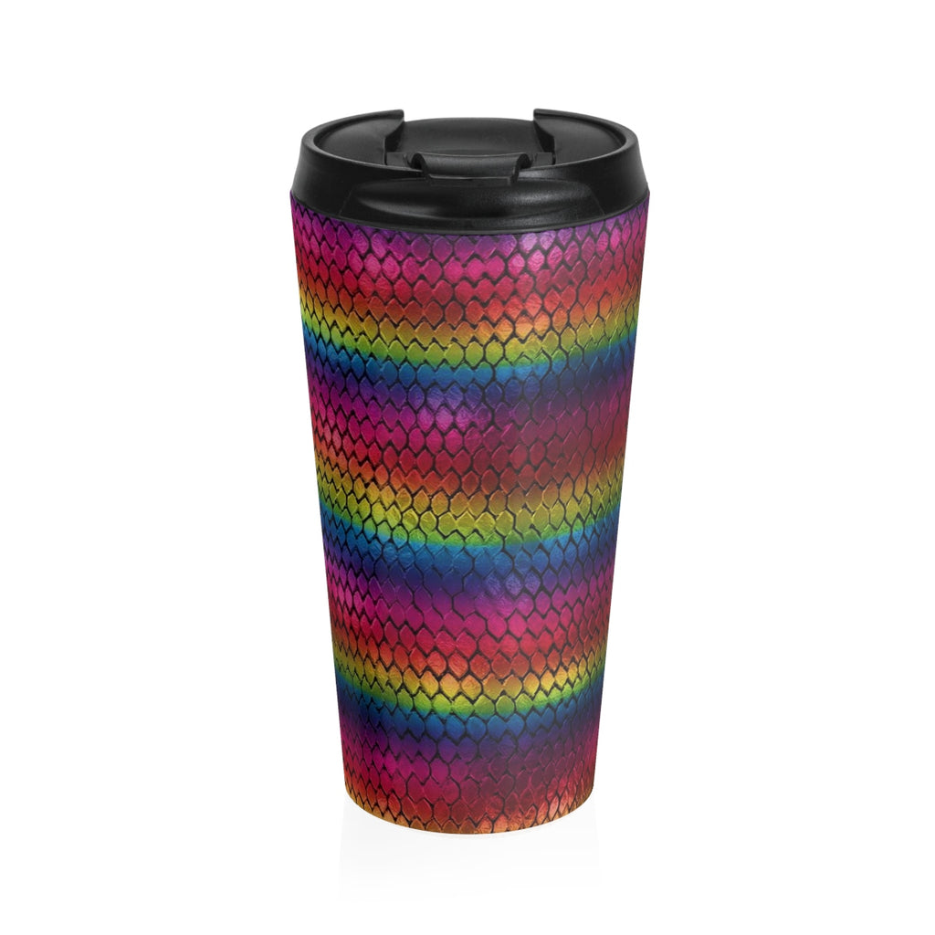 Rainbow Dragon Scales Stainless Steel Travel Mug - expressive-flower-art-goods.myshopify.com