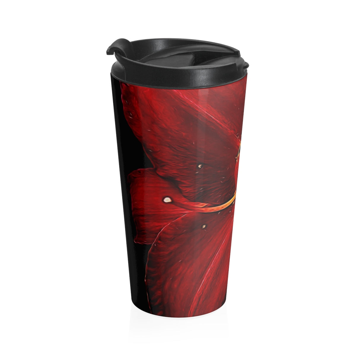 Red Lily Stainless Steel Travel Mug - expressive-flower-art-goods.myshopify.com