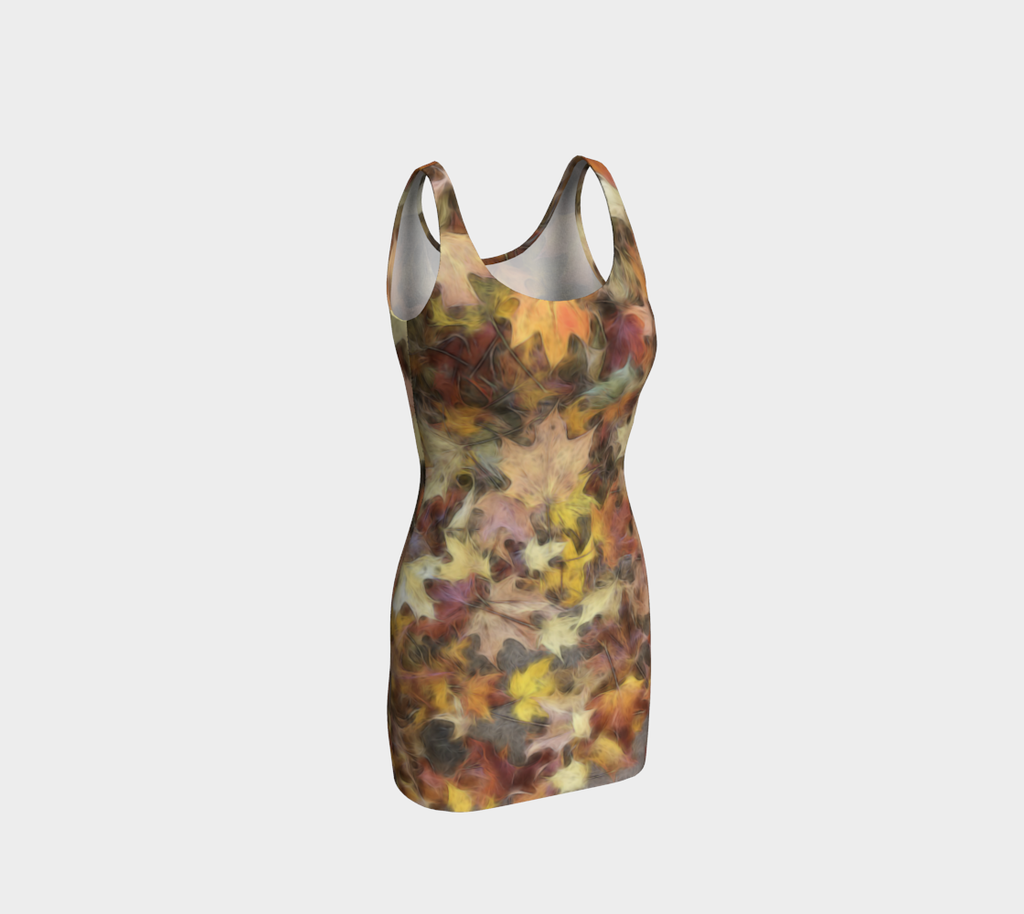 Light October Leaves Bodycon Dress
