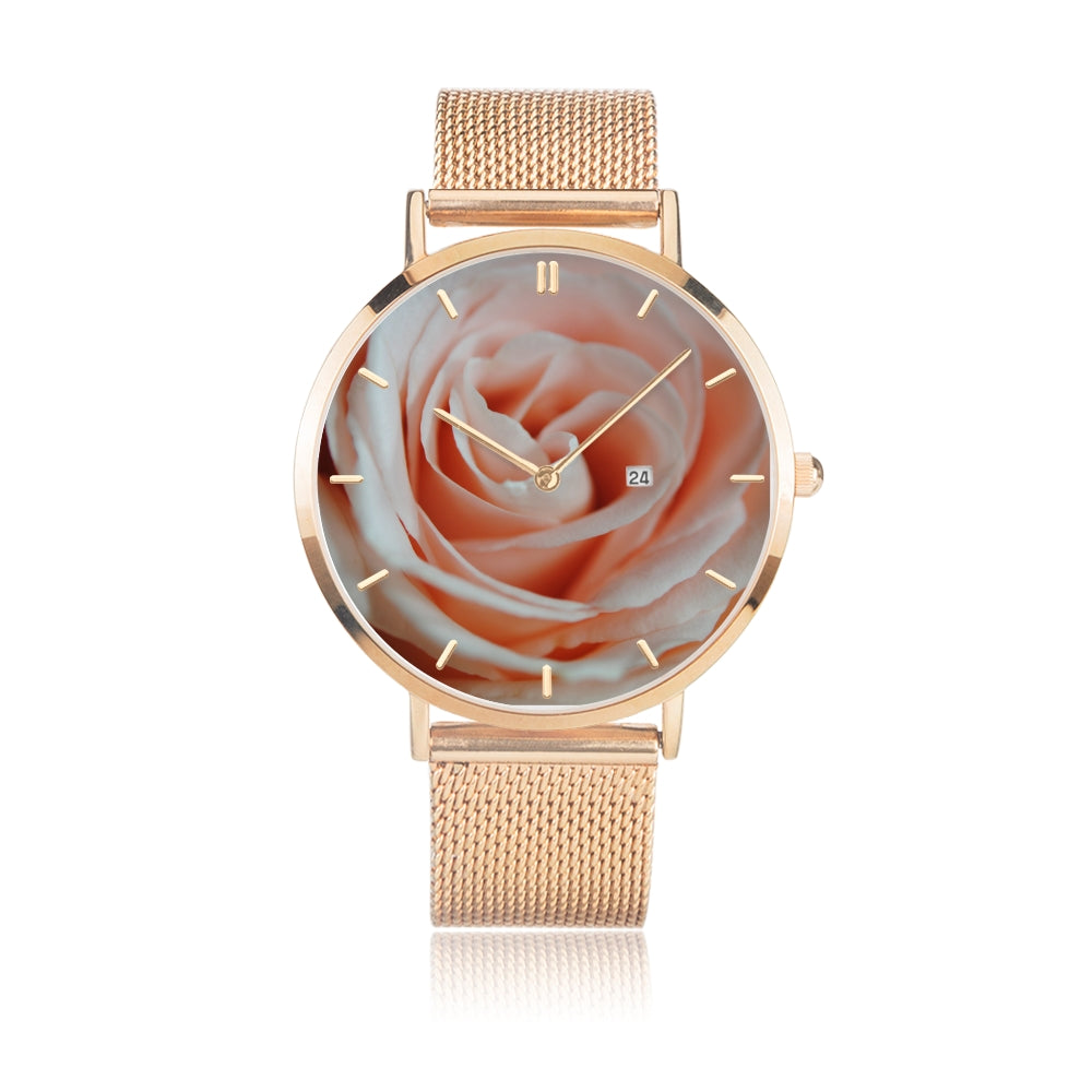 Pink Rose Close Up Steel Watch