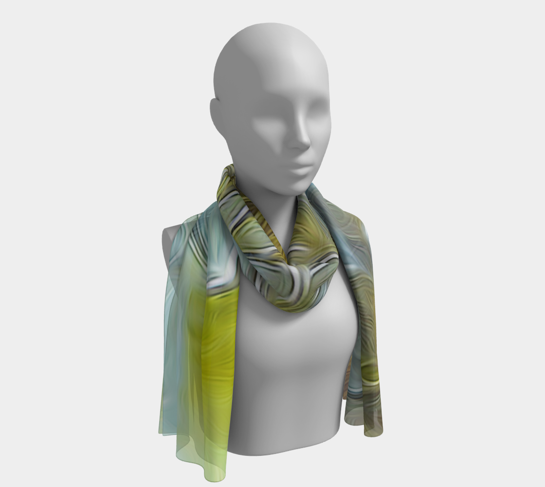 White Chrysanthemum Flowers Long Scarf