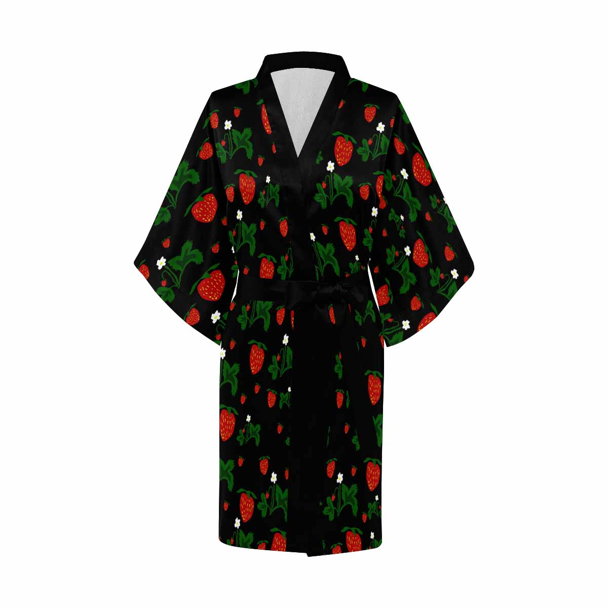 Wild Strawberries Kimono Robe Black Trim
