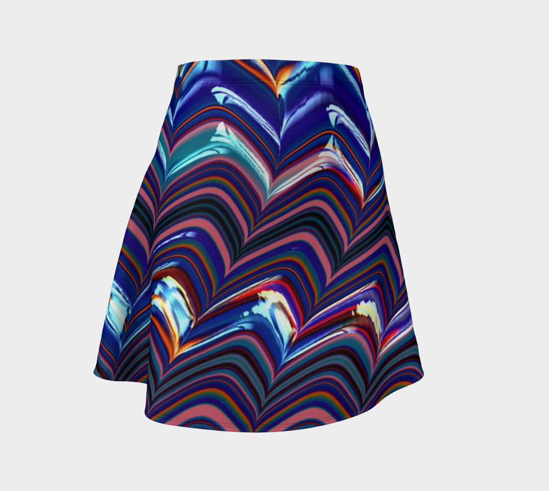 Triangle Stripes Flare Skirt