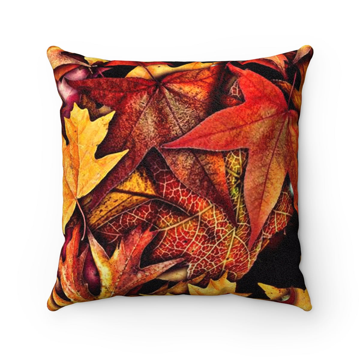 Fall Leaves Collage Faux Suede Square Pillow