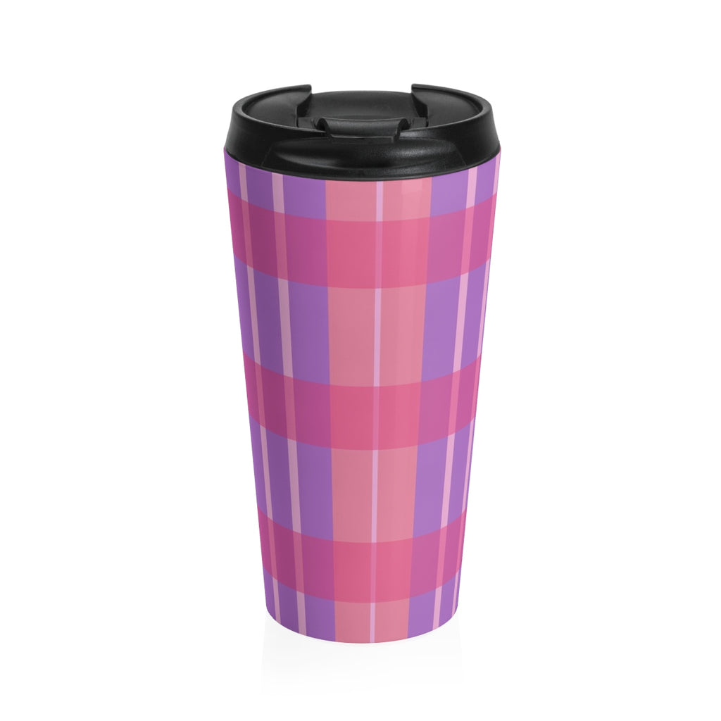 Pink Plaid Stainless Steel Travel Mug - expressive-flower-art-goods.myshopify.com