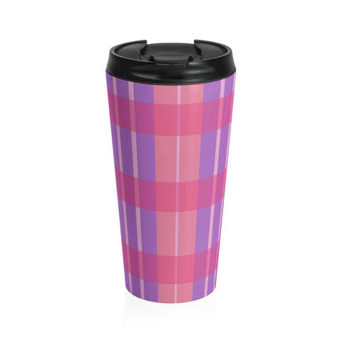 Pink Plaid Stainless Steel Travel Mug