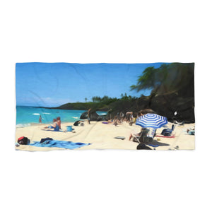 Day at The Beach With Umbrella Beach Towel