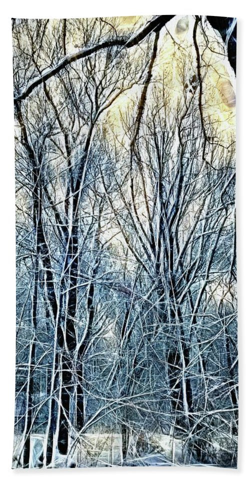 4 Oclock Winter Landscape - Beach Towel