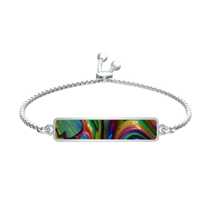Rainbow Fractal 24 Silver Tie Bracelet Rectangle Medallion