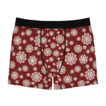 Snowflakes On Red Men's Boxer Briefs