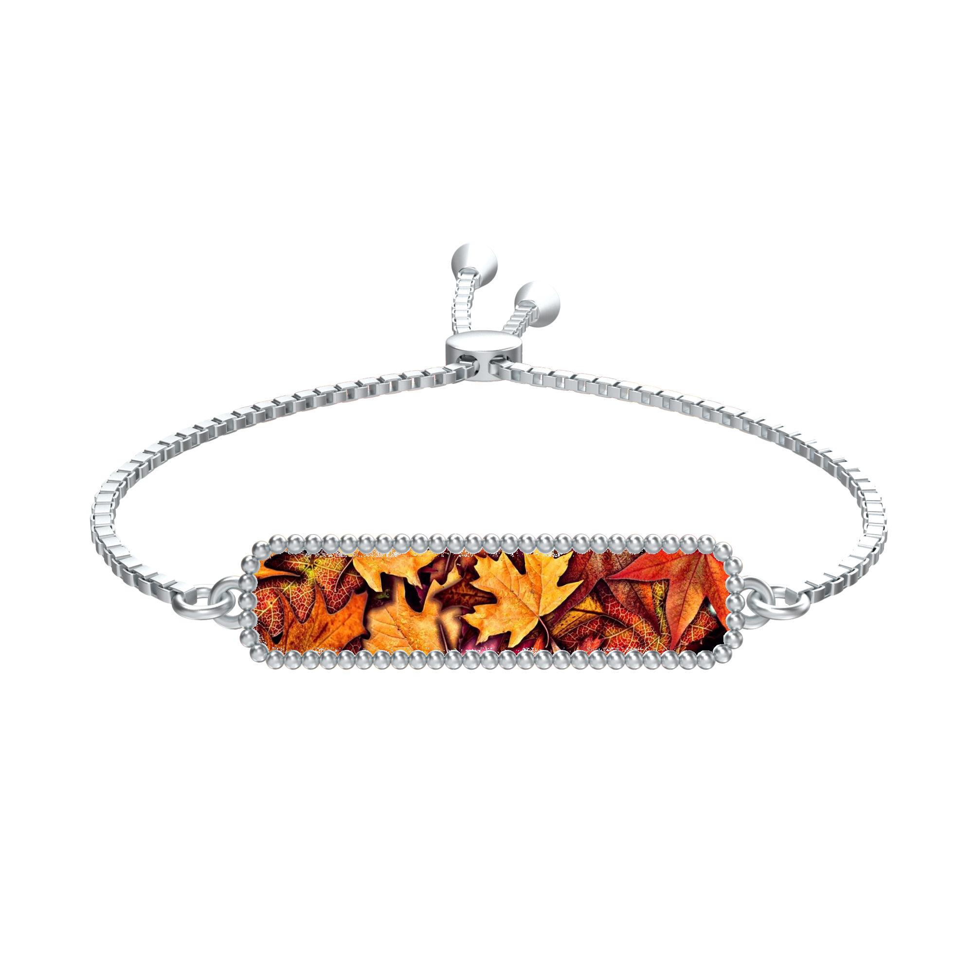 Fall Leaves Collage Rectangle Medallion Silver Tie Bracelet