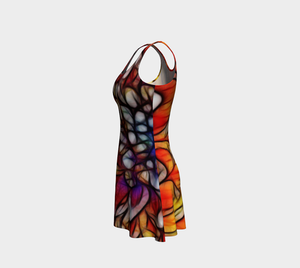 Rainbow Chrysanthemum Flare Dress