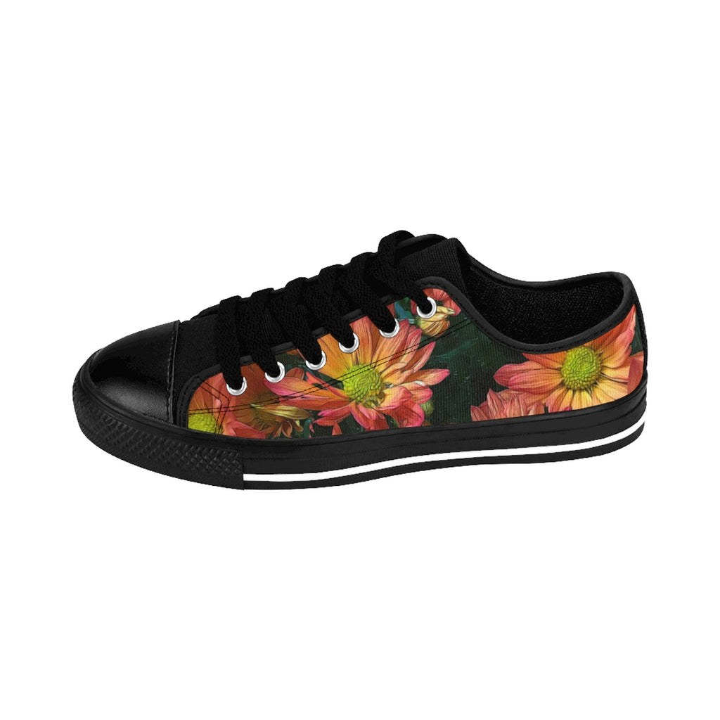 Cream and Pink Daisies Women's Sneakers