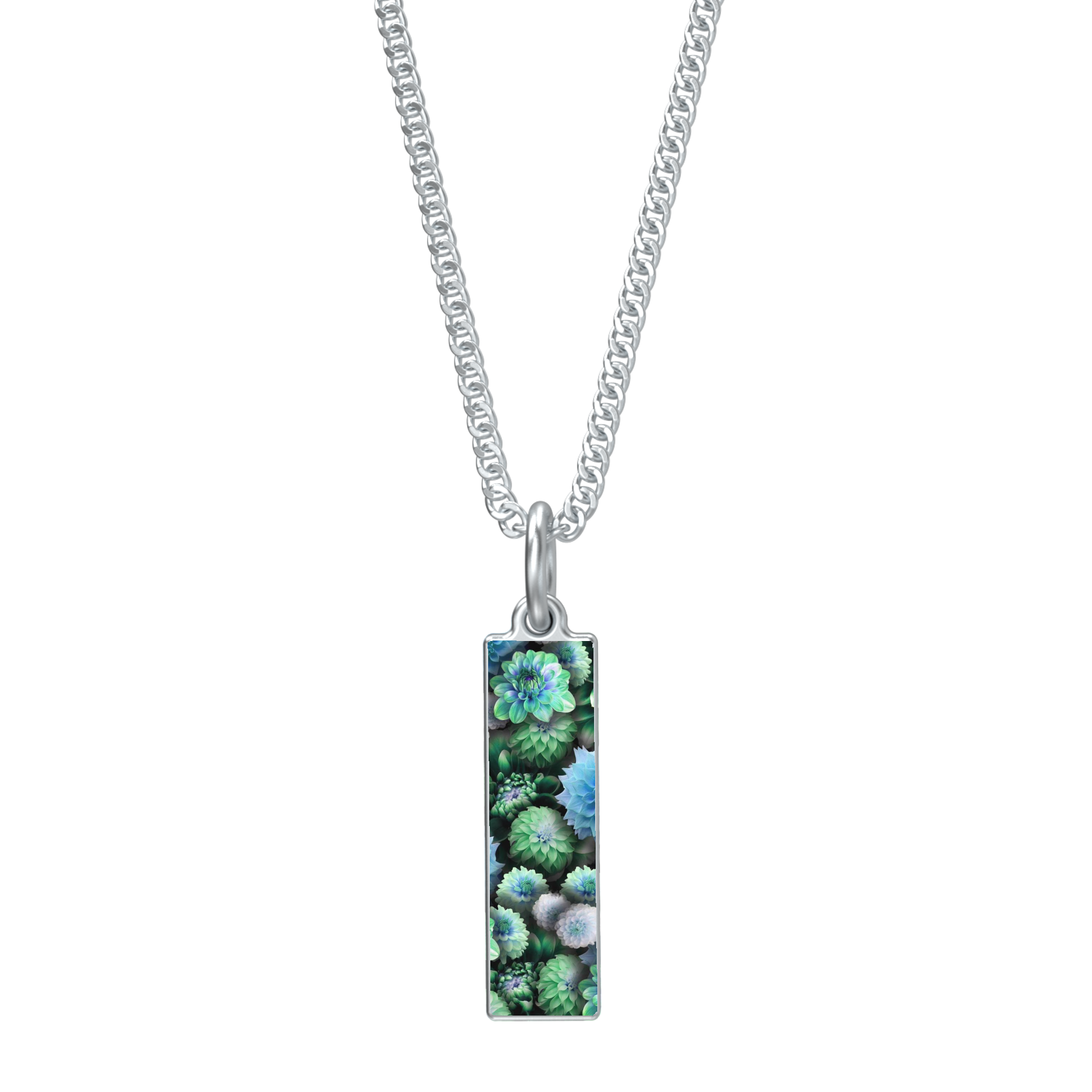 Blue Green Dahlias Necklace Rectangle Medallion Pendant - expressive-flower-art-goods.myshopify.com