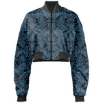 Blue Vines and Lace Gabriel Held Cropped Bomber Jacket - expressive-flower-art-goods.myshopify.com