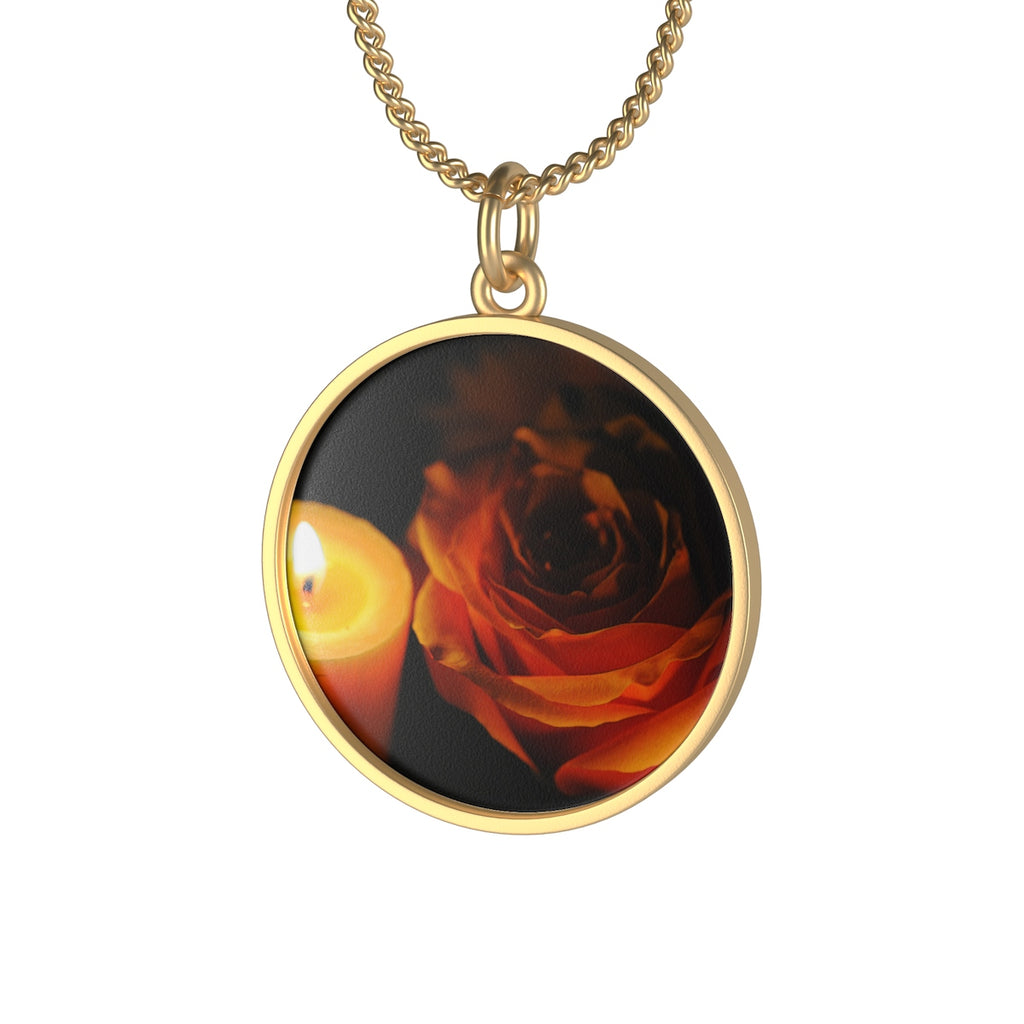 Orange Rose in Candle Light Single Loop Necklace - expressive-flower-art-goods.myshopify.com