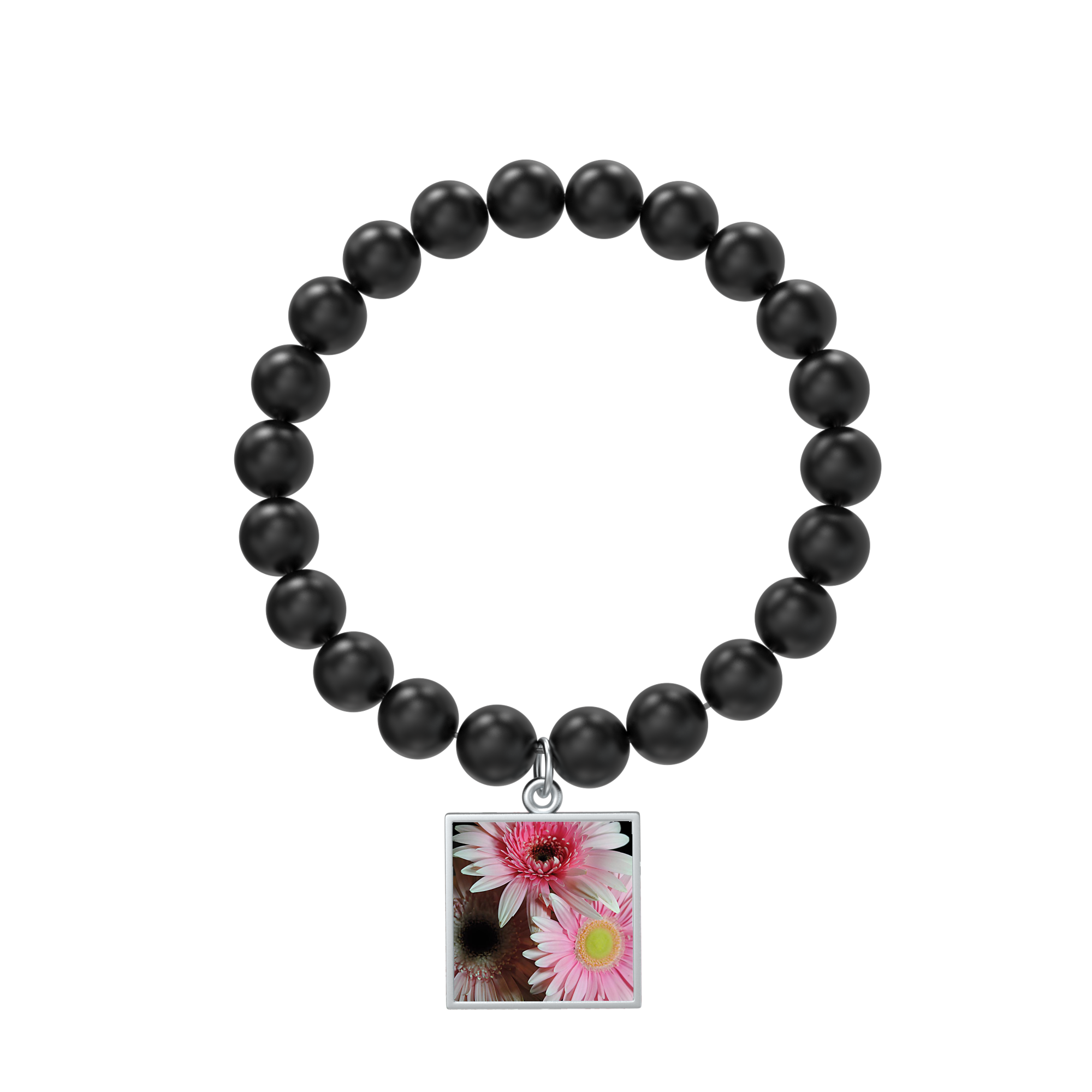 Pastel Pink Daisies Bracelet Beaded Square Medallion