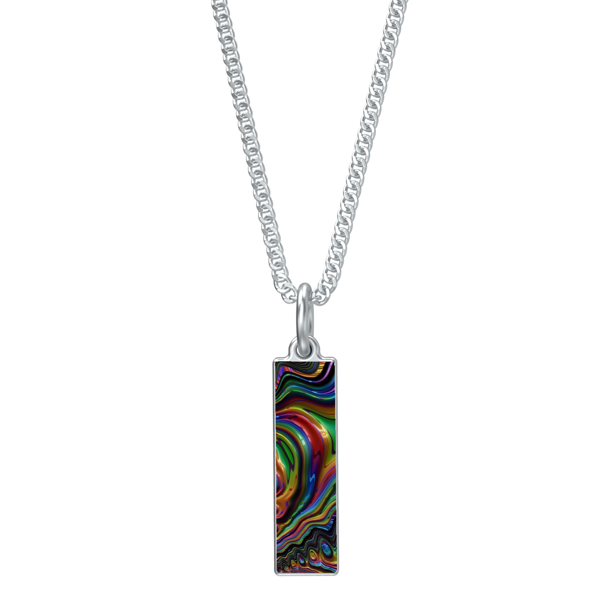 Rainbow Fractal 24 Rectangle Pendant Necklace