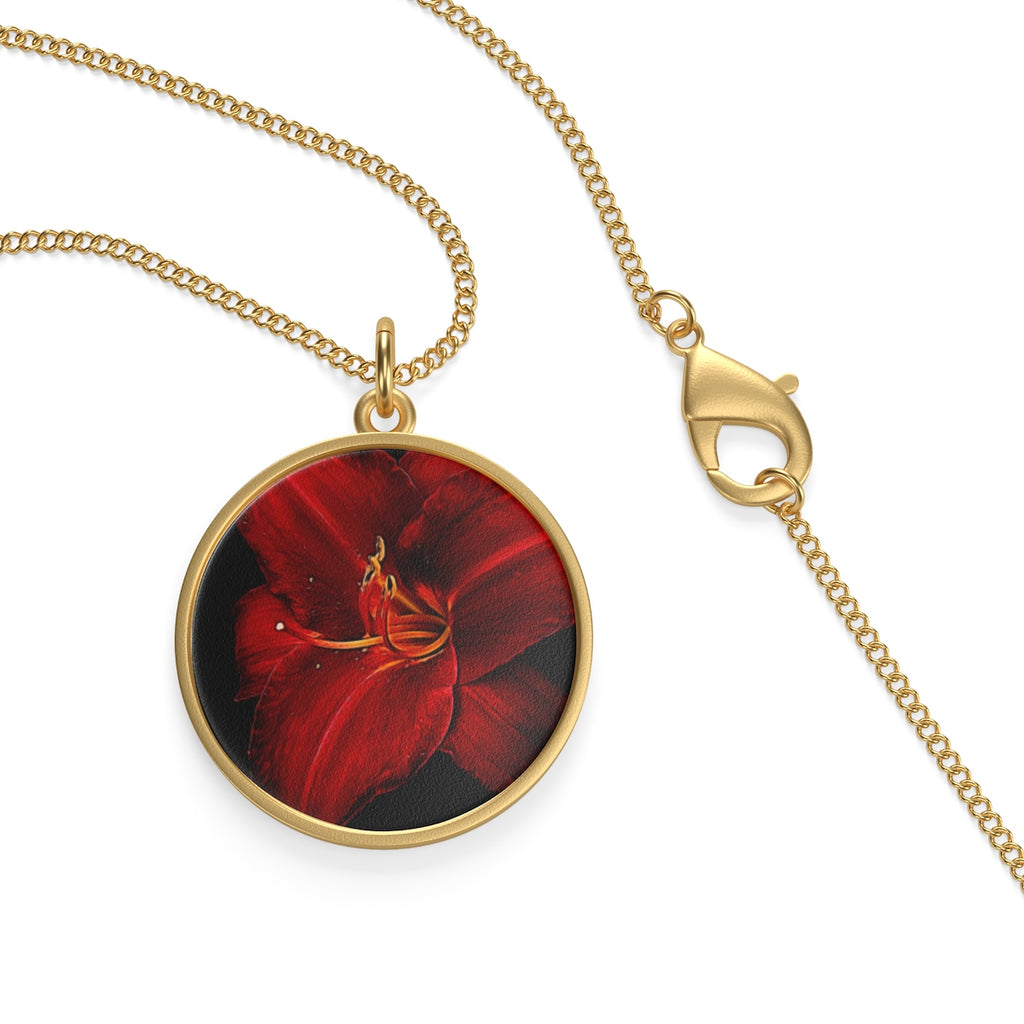 Red Lily Single Loop Necklace