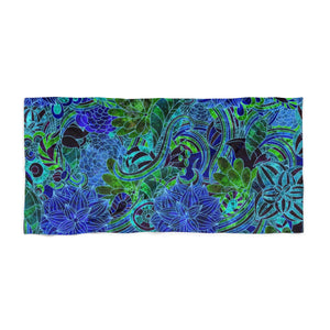 Blue Green Flower Pattern Beach Towel