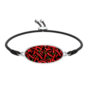 Red Chili Peppers Collage Cord Bracelet Oval Medallion