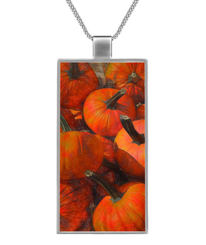 Pumpkins Necklace Rectangle Pendant Rectangle Necklace