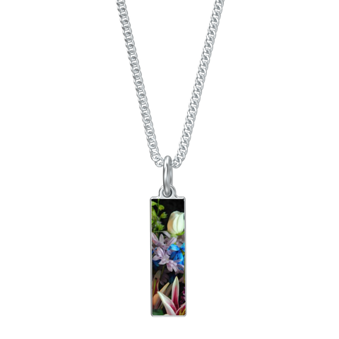 Flowers 292 Long Rectangle Necklace