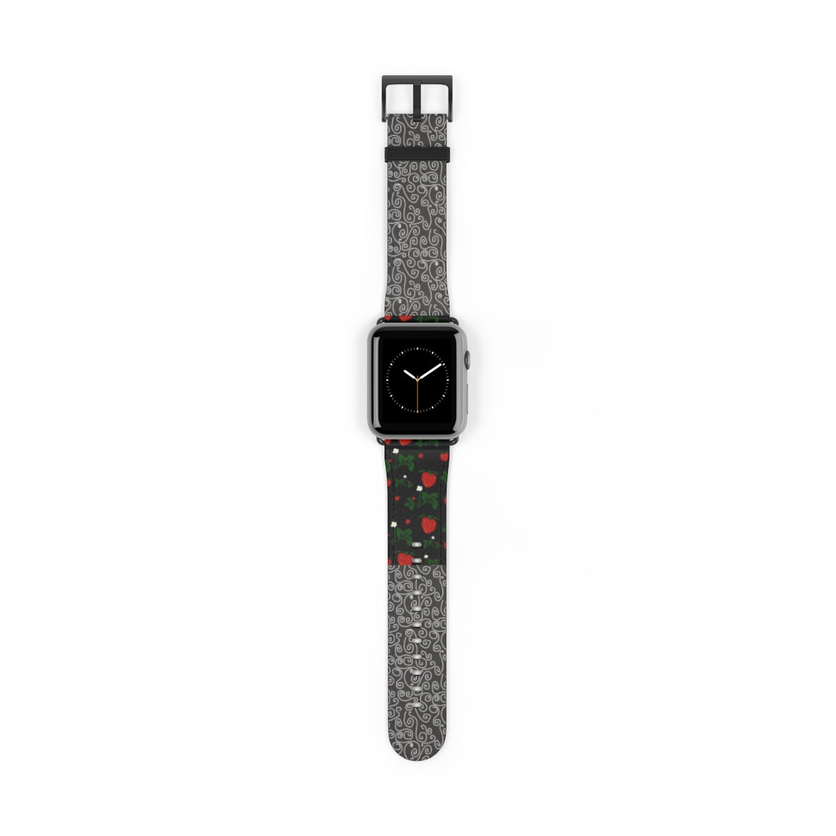 Strawberries and Gray and White Swirls Watch Band