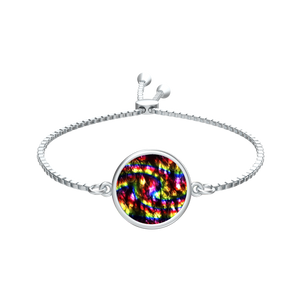 Rainbow Bokeh Light Raindrops Silver Tie Round Medallion Bracelet