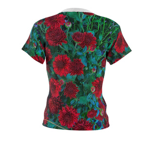 Red Mums Women's AOP Cut & Sew Tee - expressive-flower-art-goods.myshopify.com