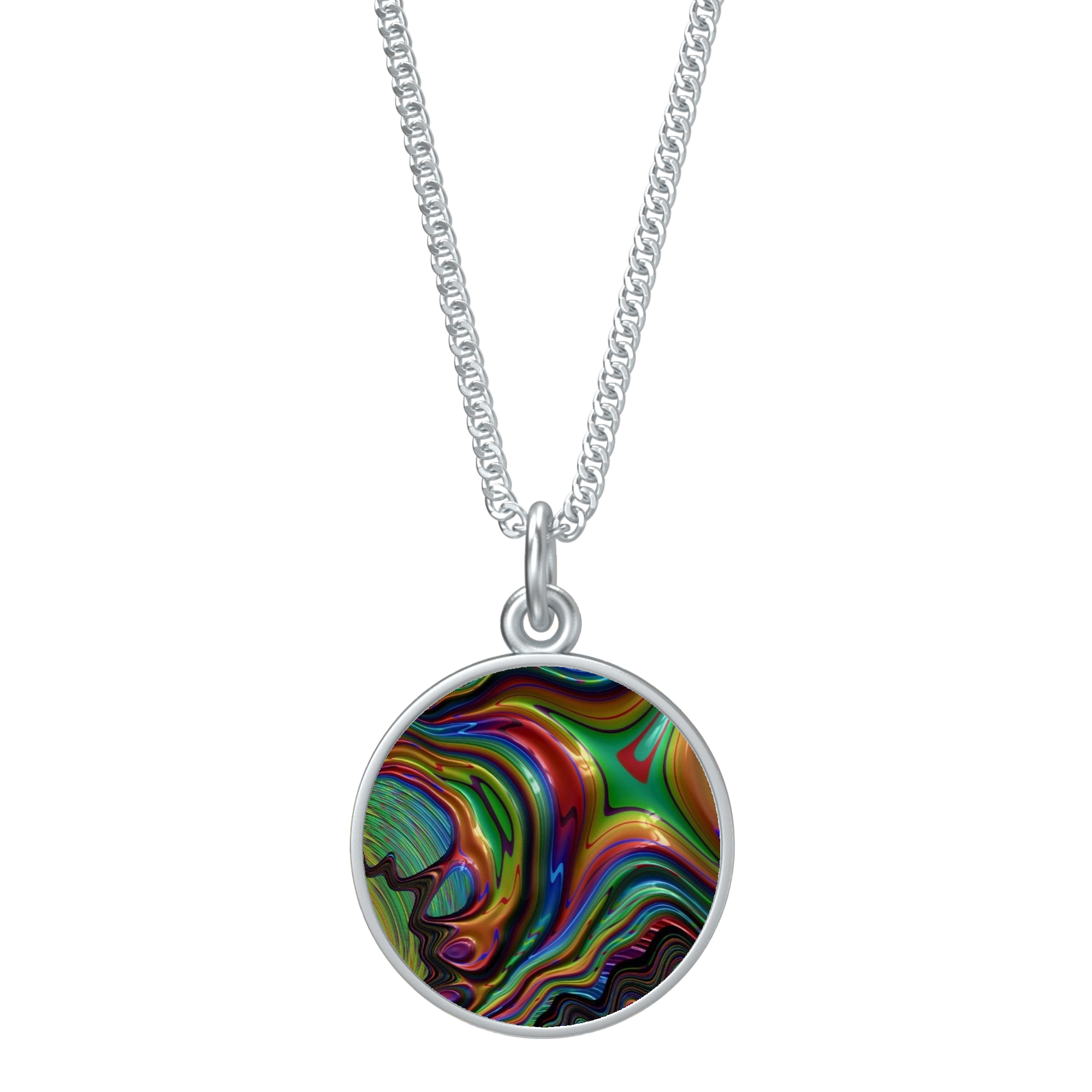 Rainbow Fractal 24 Round Necklace