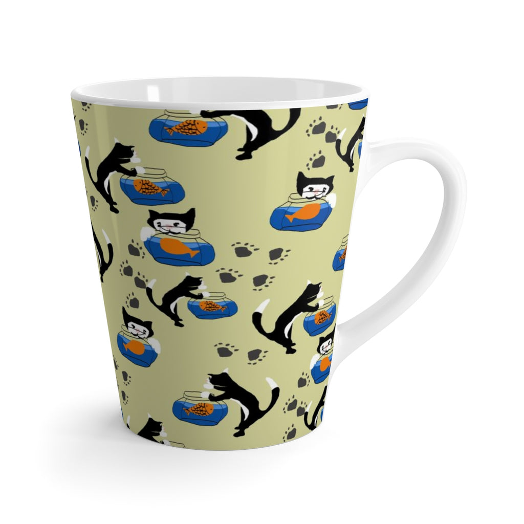 Cat and Fishbowl Latte mug
