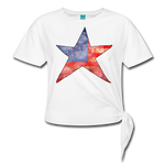 American Flag Star Women' s Knotted T-Shirt - white