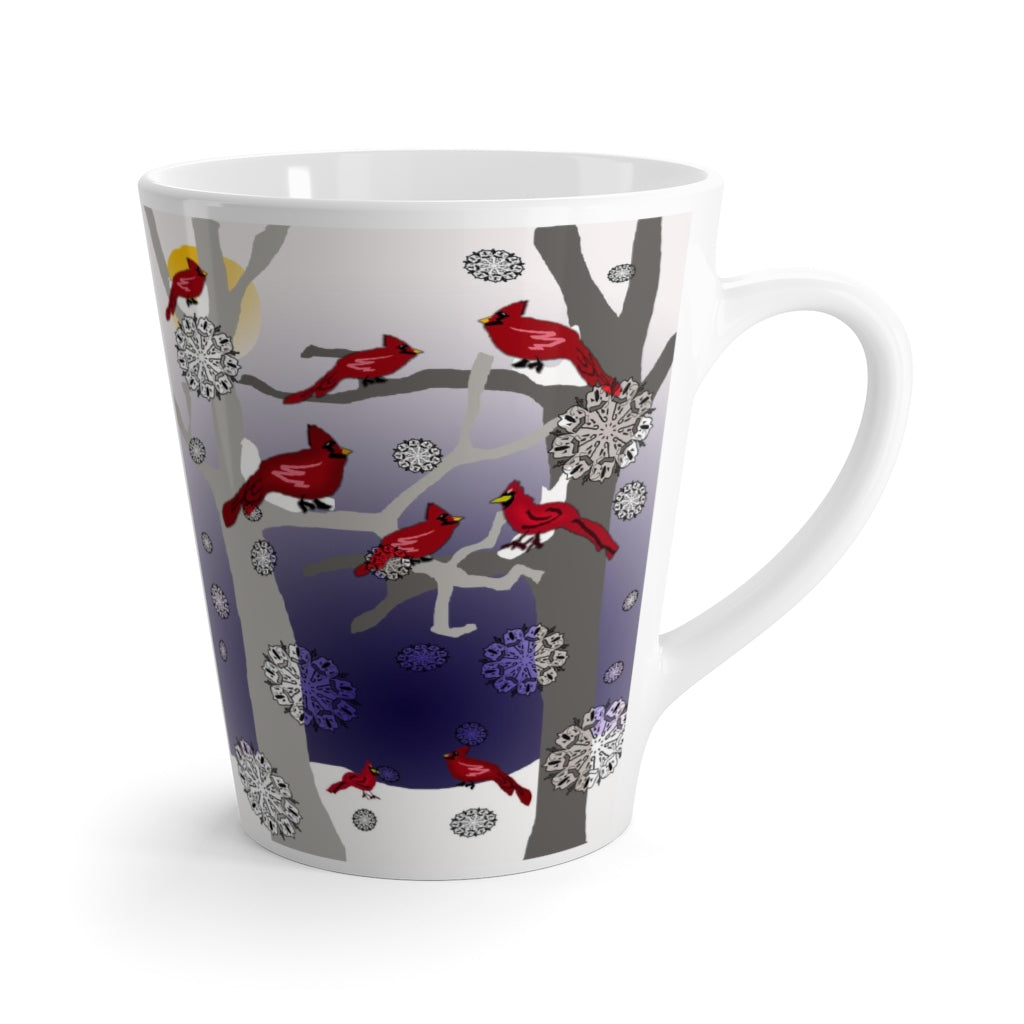 Cardinals In The Snow Latte mug