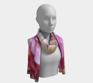 Pink Flower Long Scarf