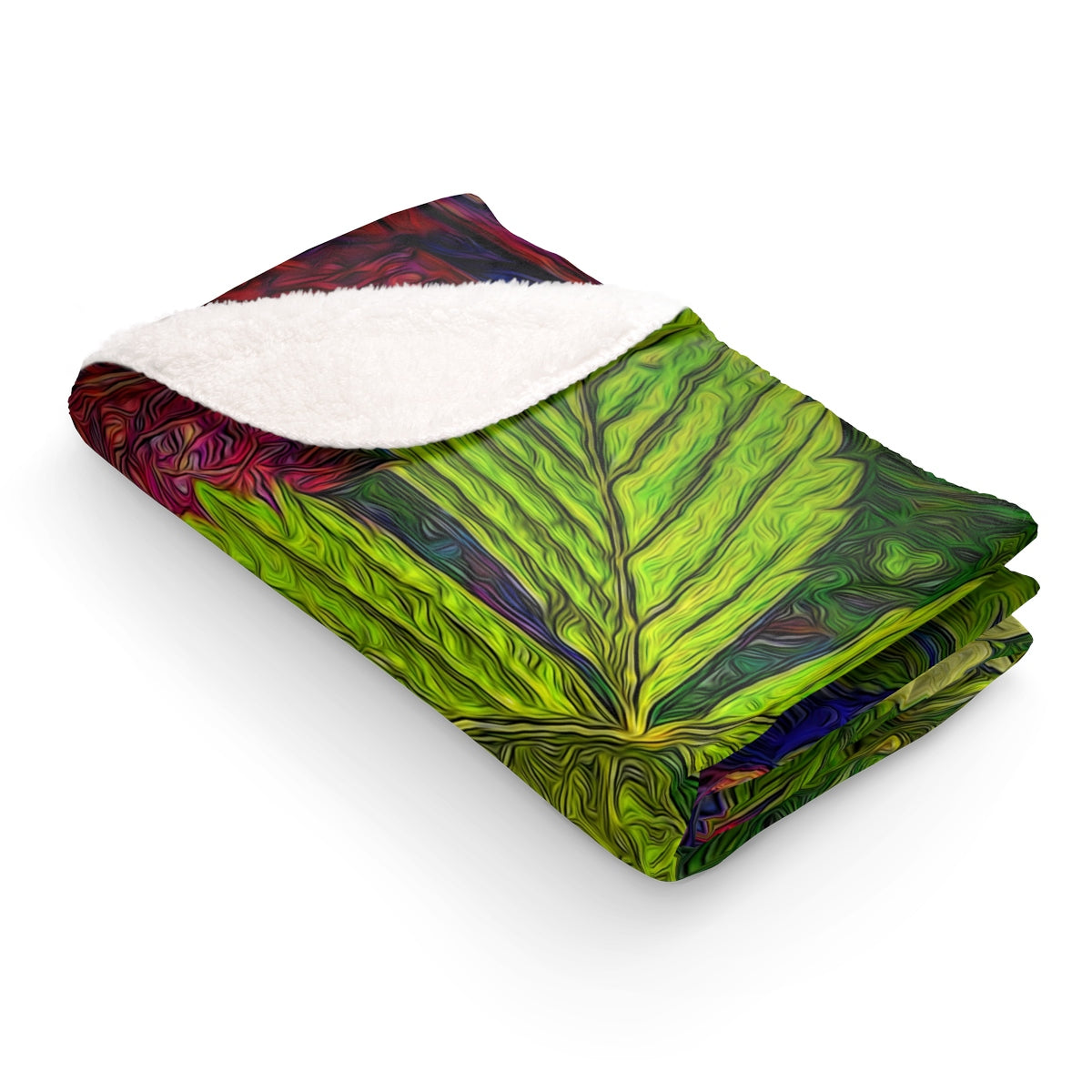 Wild Strawberry Plant Sherpa Fleece Blanket