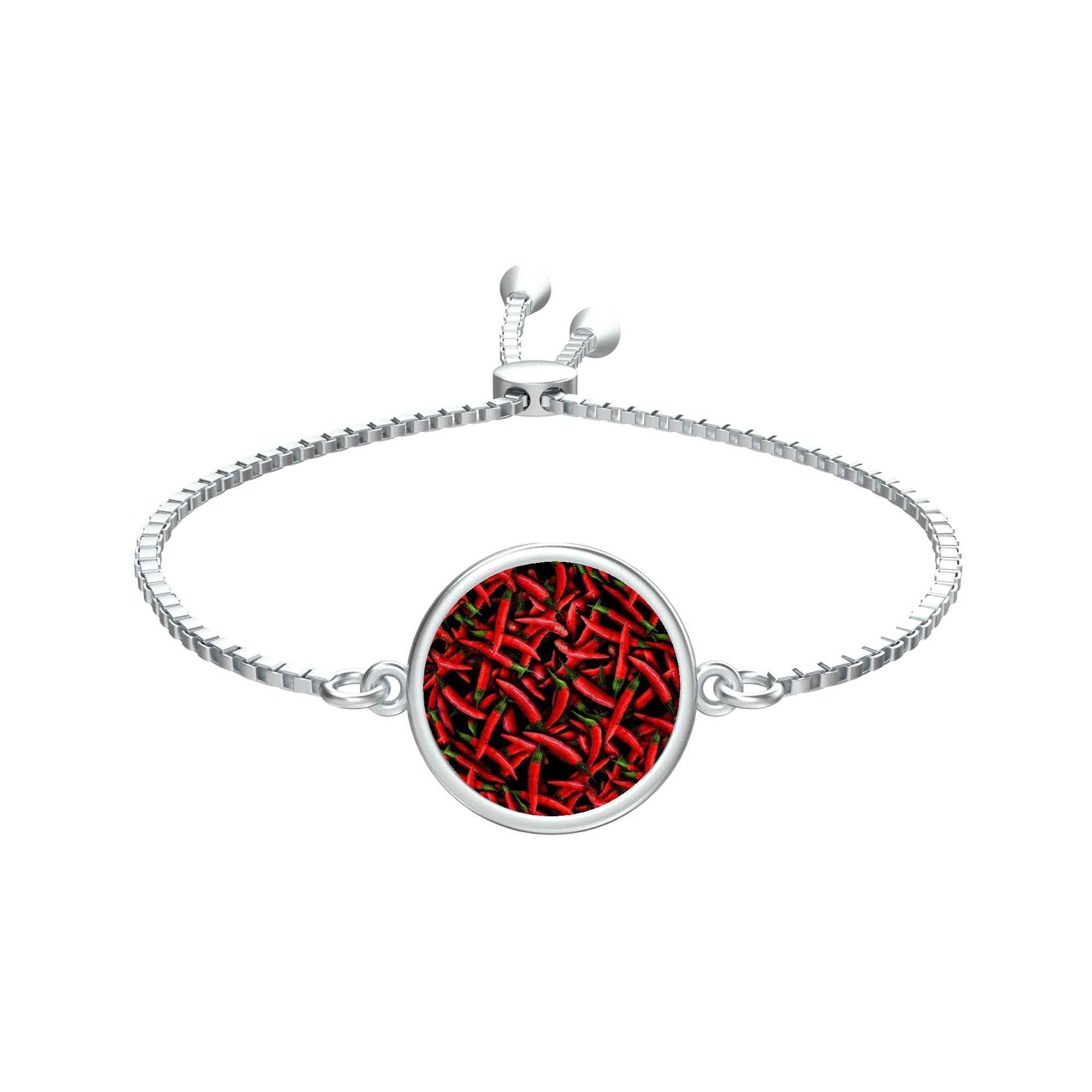 Red Chili Peppers Collage Silver tie Round Medallion Bracelet - expressive-flower-art-goods.myshopify.com