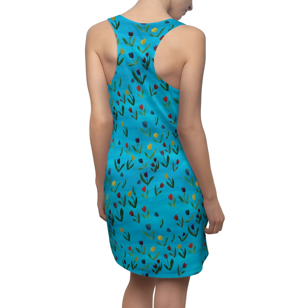 Tulips Pattern Women's Cut & Sew Racerback Dress
