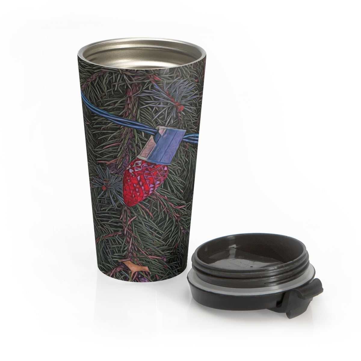 Christmas Lights On The Tree Stainless Steel Travel Mug - expressive-flower-art-goods.myshopify.com