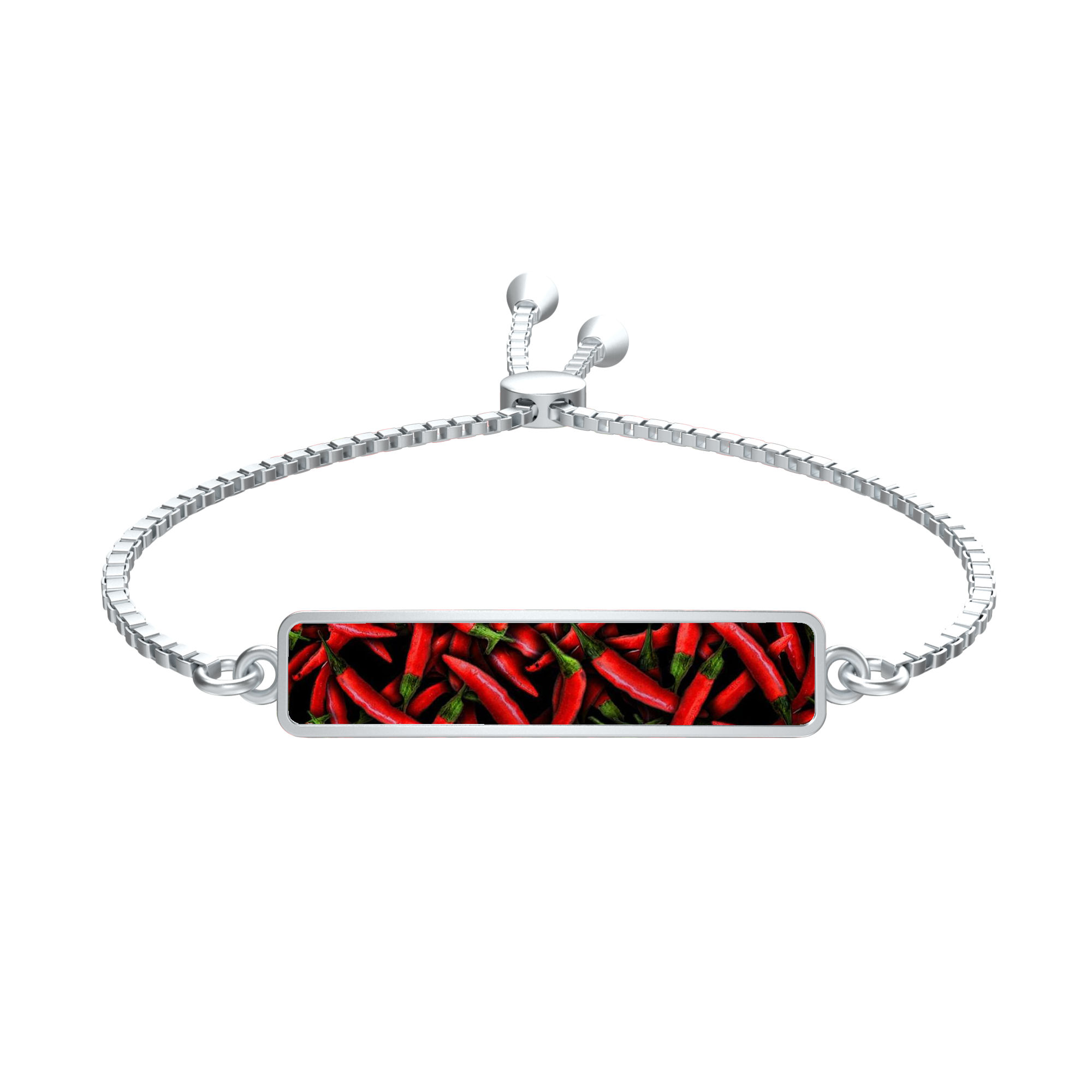 Red Chili Peppers Collage Silver tie Rectangle Medallion Bracelet