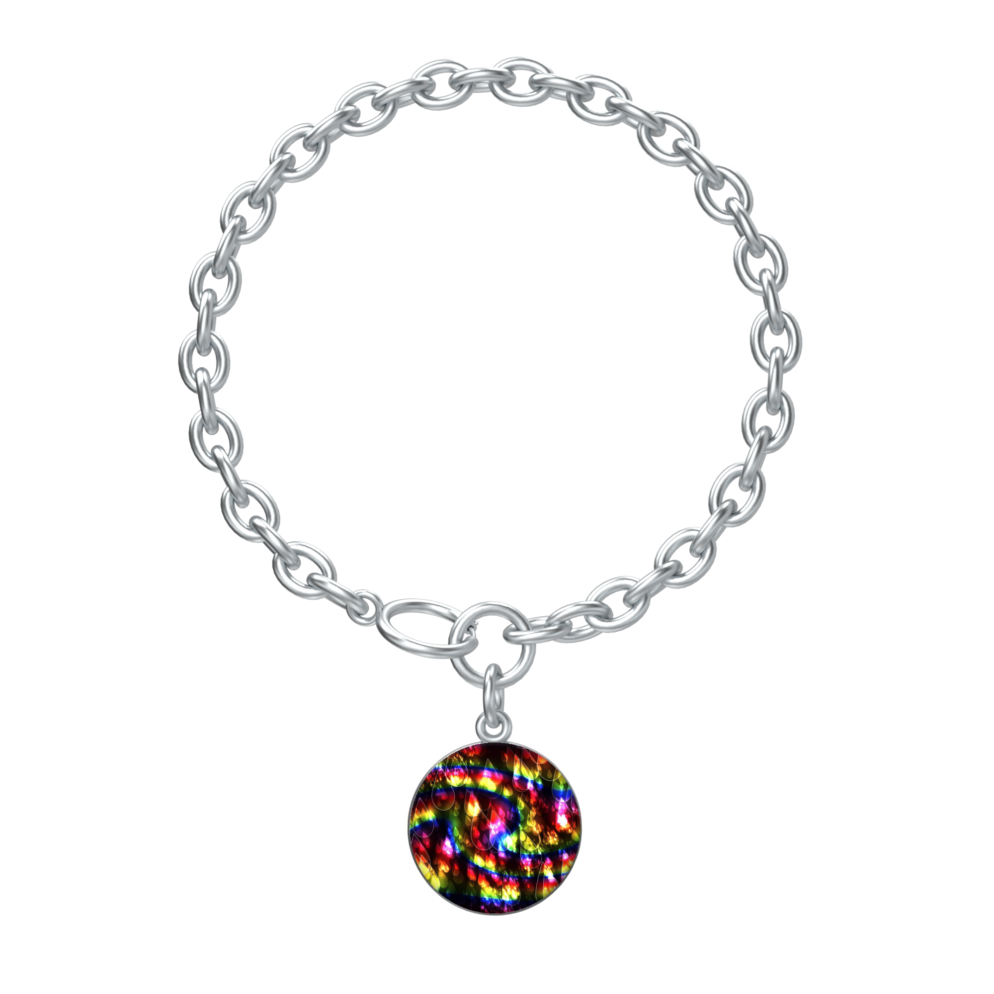 Rainbow Bokeh Light Raindrops Charm Bracelet