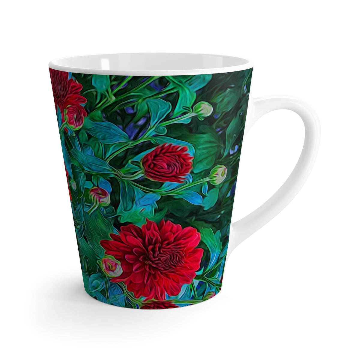 Red Mums Latte mug