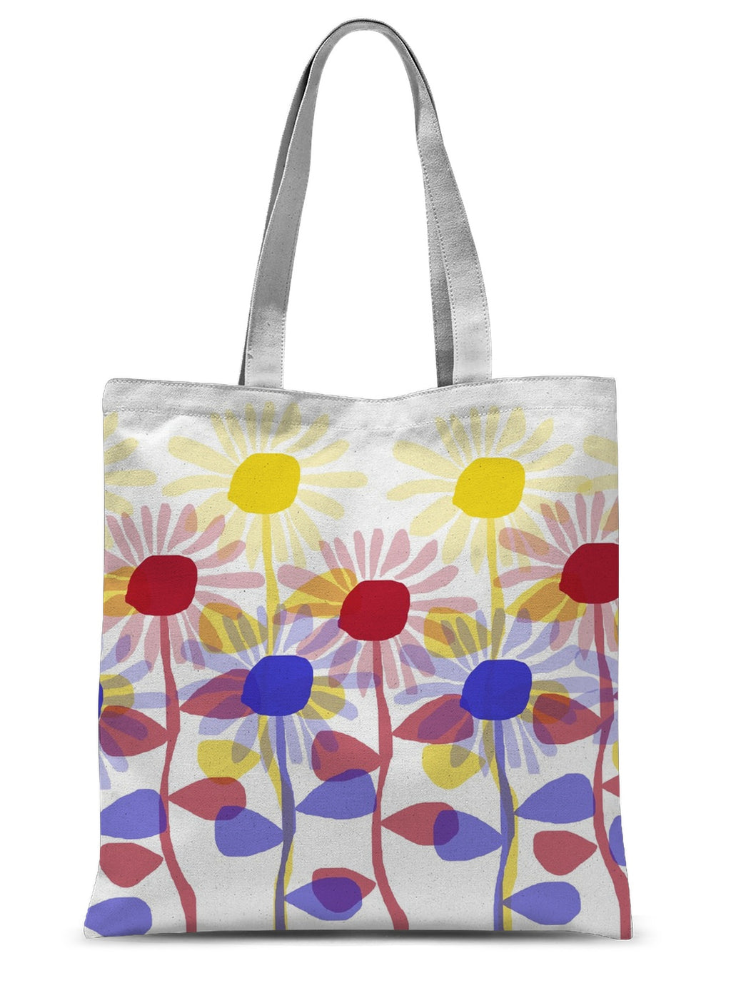 Red Yellow Blue Sunflowers Sublimation Tote Bag - expressive-flower-art-goods.myshopify.com