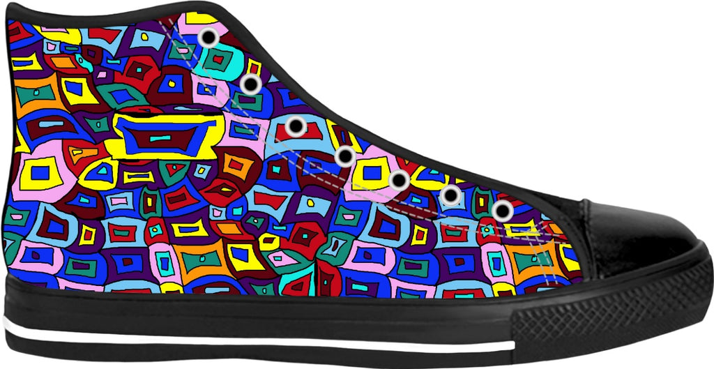 Wavy Squares Pattern High Tops